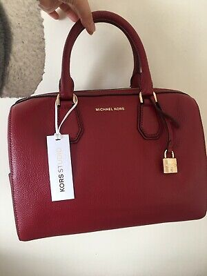 New MICHAEL KORS Mercer studio collection leather DUFFLE Cherry BAG tote e6e2223a9f08e