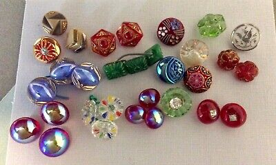 31 Small Vintage Glass Buttons, Sets & Pairs