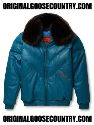 Brand New Goose Country V-Bomber Jacket From 80's Teal With Fox Collar