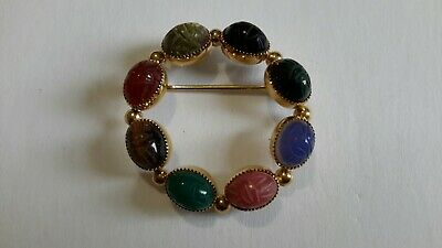 Vintage WELLS 14K Gold Filled Gemstone Brooch Pin