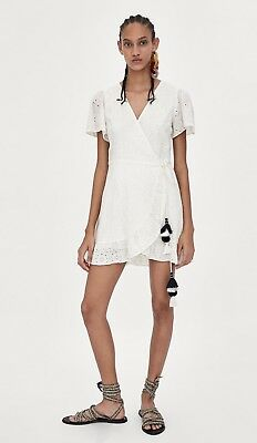 fd37e77910 ZARA TRF CROSSED Embroidered Jumpsuit Dress Size L -  30.00
