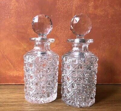 Antique Pair Cut Crystal Whiskey Decanters with Stoppers Diamond Star Cut