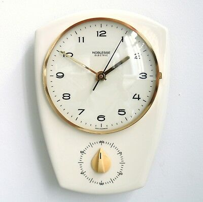 German NOBLESSE Vintage Wall TOP! Clock Timer Kitchen Ceramic/Glass Mid Century!