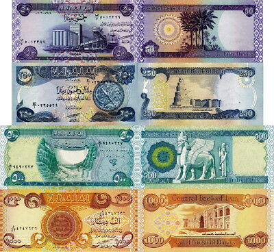 IRAQ - Lot Lotto 4 banconote 50/250/500/1000 Dinars FDS - UNC
