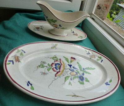 RARE ANTIQUE 19th century french  gravy boat dish and large serving plate 1890