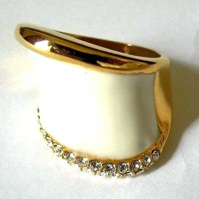 Woman's stainless steel Gold / white two tone color CZ ring USA size 7, 8, 9