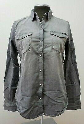 Calvin Klein Jeans Women's Snap Button Denim Shirt-Size Small, Color-Aleesa Grey