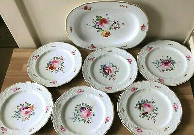 Lovely Royal Crown Derby Set of 6 Plates & Platter circa 1820