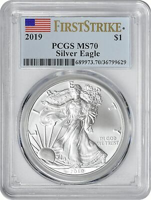 2019 American Silver Eagle Dollar First Strike MS70 PCGS