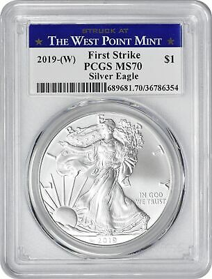 2019-(W) American Silver Eagle Dollar First Strike MS70 PCGS Struck @ West Point