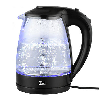 Electric Kettles Glass Blue LED Illuminated Cordless Water Portable 1.7L Jug New