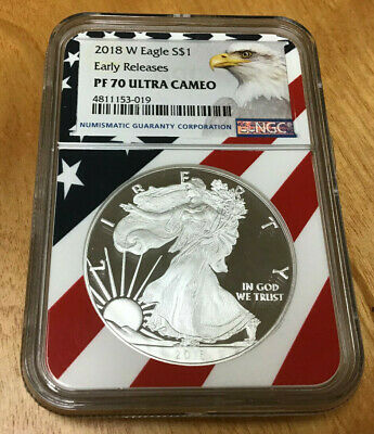 2018-W PROOF 1oz SILVER EAGLE - CERTIFITED NGC PF70  ULTRA CAMEO - EARLY RELEASE