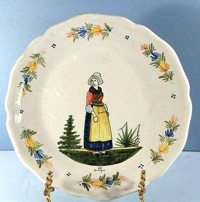 Rare 19th Century Quimper French Faience HB Plate w Lady w Hands in Pockets #6