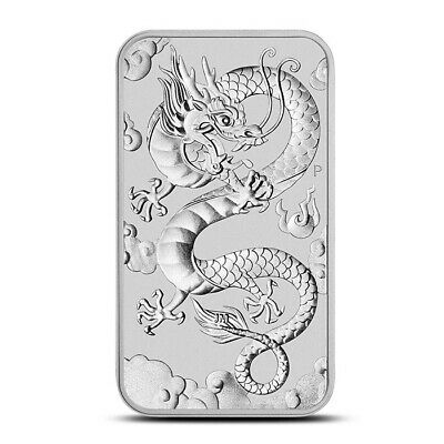 2019-P (Perth) Australia 1 Troy Oz .9999 Fine Silver $1 Dragon Bar / Coin Gem BU