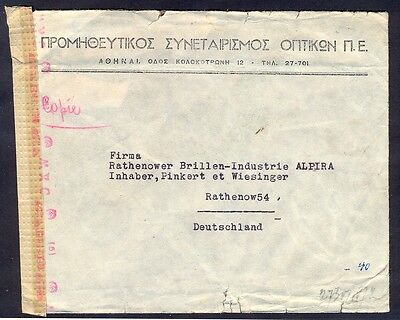 Greece, 1944, Firma cover in german occupation time from Athens with 3 censorshi