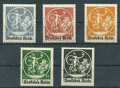 Germany 1920 Bavaria Deutsches Reich Ovpt High Values Scott 271-275 Perfect Mnh