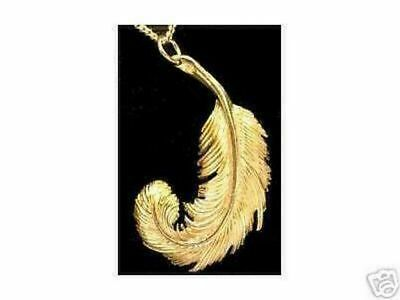 LOOK 24kt Gold Plated Swan Feather Celtic Good Luck Charm