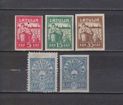 Letonia / Latvija - 1919 - 5 Mh Stamps - Imperforated/perforated