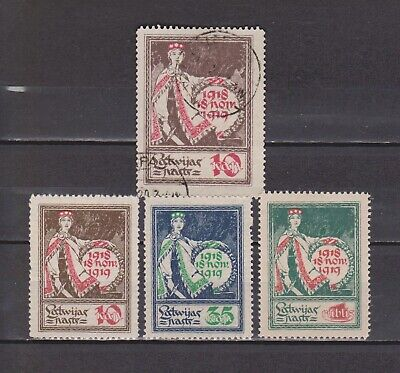 Letonia / Latvija - 1919-1920 - 4 Different Stamps Used/mh (2 Scans)