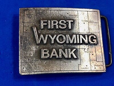 Vintage 1977  First Wyoming Bank WI Advertising Studio Art Works belt buckle