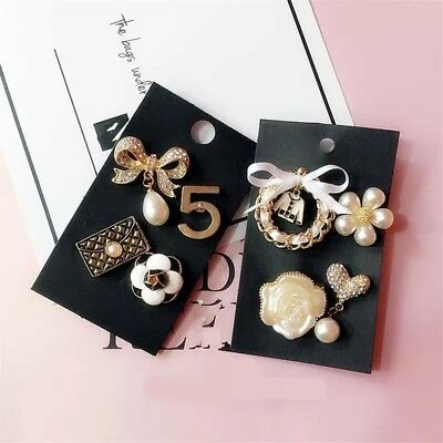 CoCo Number 5 Fashion Bling Brooch Pin Pearl Gold Plated Set Of 4
