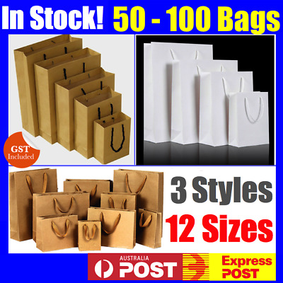 Bulk 50 Brown White Craft Paper Gift Carry Bags Small Medium Large With Handles