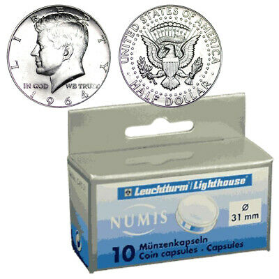10 Direct Fit 31mm Coin Capsules for US Kennedy Half Dollar Coins Holder