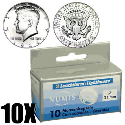 100 Direct Fit 31mm Coin Capsules for US Kennedy Half Dollar Coins Holder