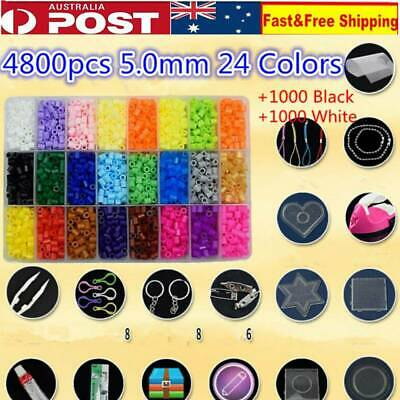6800pcs Fuse Perler Hama Beads Refill Pack & 5 pegboards Stater & Ironing Board