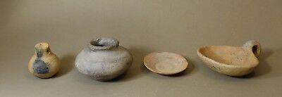 LOT of 4 Authentic Pre Columbian Miniature Vessels Bowl Plate Musical Rattle LOT