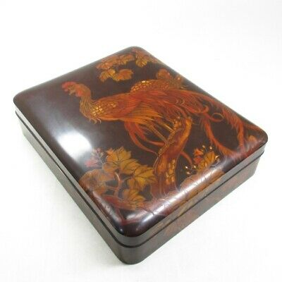D602: Japanese old lacquered ink stone case of rare MAKIE of long-tailed cock