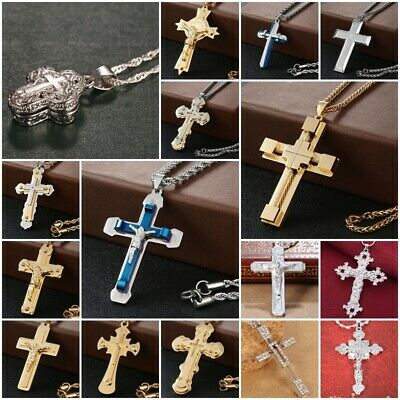 925 Silver Men Catholic Crucifix Church Jesus Cross Pendant Necklace Chain