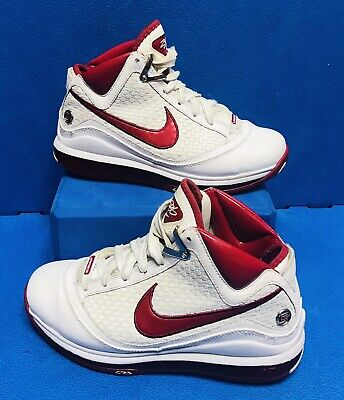 finest selection 31c90 c281d RARE 2010 Nike Air Max LeBron 7 VII Y 5 White Varsity Red 383578-
