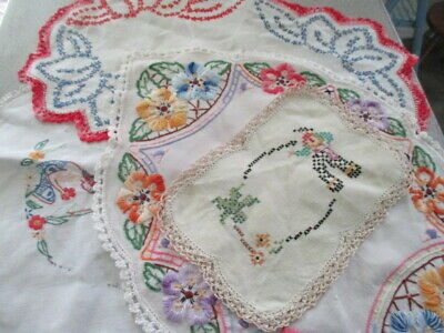 Vintage Hand Embroidered 4 Doilies. Flowers, Cowboy, Hawaiian Girl. All Lovely.