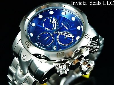Invicta Men's 52mm Venom Swiss Chronograph Blue Dial High Polished Silver Watch