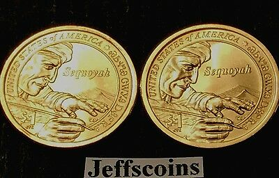 2017 P D SACAGAWEA NATIVE AMERICAN Sequoyah Mint Cherokee Indian Dollar Set s PD