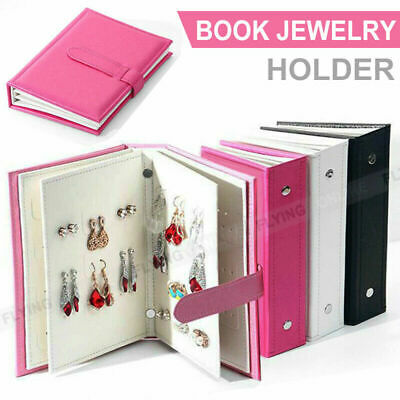 Jewelry Earring Organizer Portable Holder Travel Case PU Leather With Book Boxes