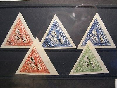 Latvia 1933 C9,C10,C11,C12,C13 MH Cat $520 may be a  forgeries