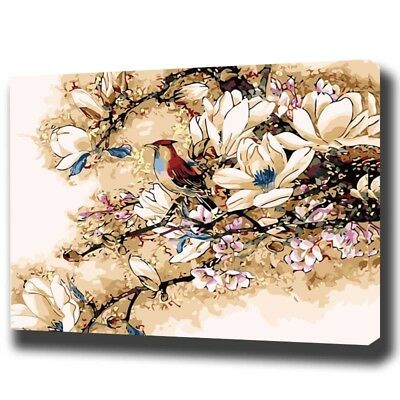"""Paint By Number Kit Bird Spring Tree Blossoms Artistic DIY Picture 16x20"""" Canvas"""