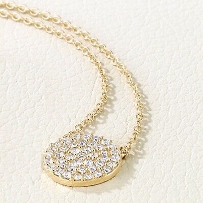 Diamond Cluster Disc Necklace ⅓ ctw 14kt white rose or yellow gold msrp $1275