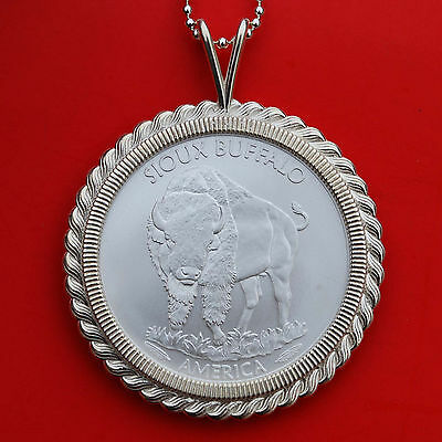2015 Sioux Indian Buffalo 1 Oz .999 Fine Silver Coin Sterling Silver Necklace