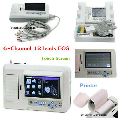 6 Channel 12 Leads Electrocardiograh ECG/EKG Machine Color Touch Screen+Software
