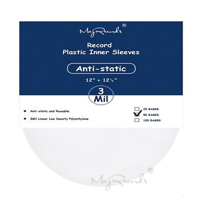 50 Clear Anti-static 3 Mil Plastic Vinyl Record Inner Sleeves For 12'' LP LD