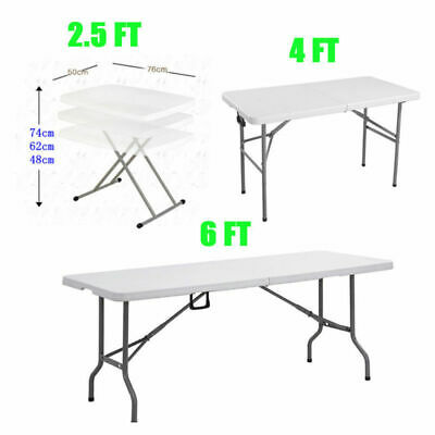 FOLDING PORTABLE TRESTLE TABLE 2.5ft 4ft 6ft PICNIC CAMPING PARTY BBQ BANQUET