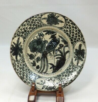 "D675: Real old Chinese blue-and-white porcelain plate of Ming dynasty ""GOSU"""