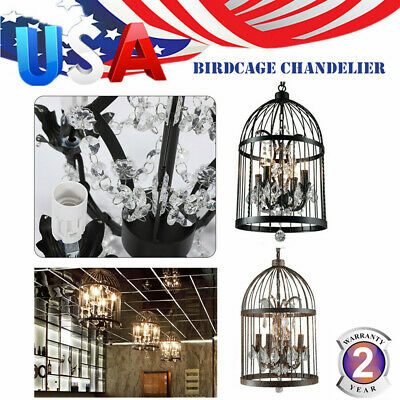 New Vintage Iron Birdcage Chandelier Pendant Lights Home Hotel E14 Black/Rusty