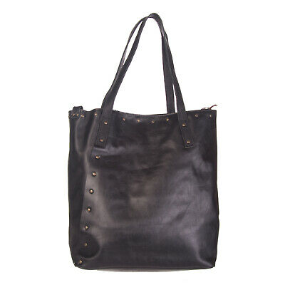 CORSIA Leather Tote Bag Large Studded Detachable Strap Made in Italy