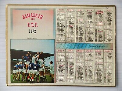 Almanach PTT calendrier postes 1972 Rugby 59 Nord