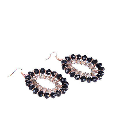 DETTAGLI Oval Dangle Earrings Faceted Glass Beads Details Fish Hook Closure