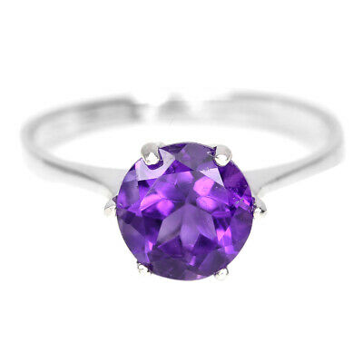 Natural Aaa Purple Amethyst Round Sterling 925 Silver Ring Size 6